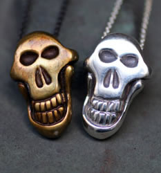 MONKEY SCULL bronze and silver